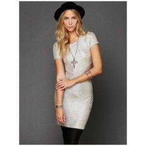Free People Moonage Daydream Gold Bodycon Dress